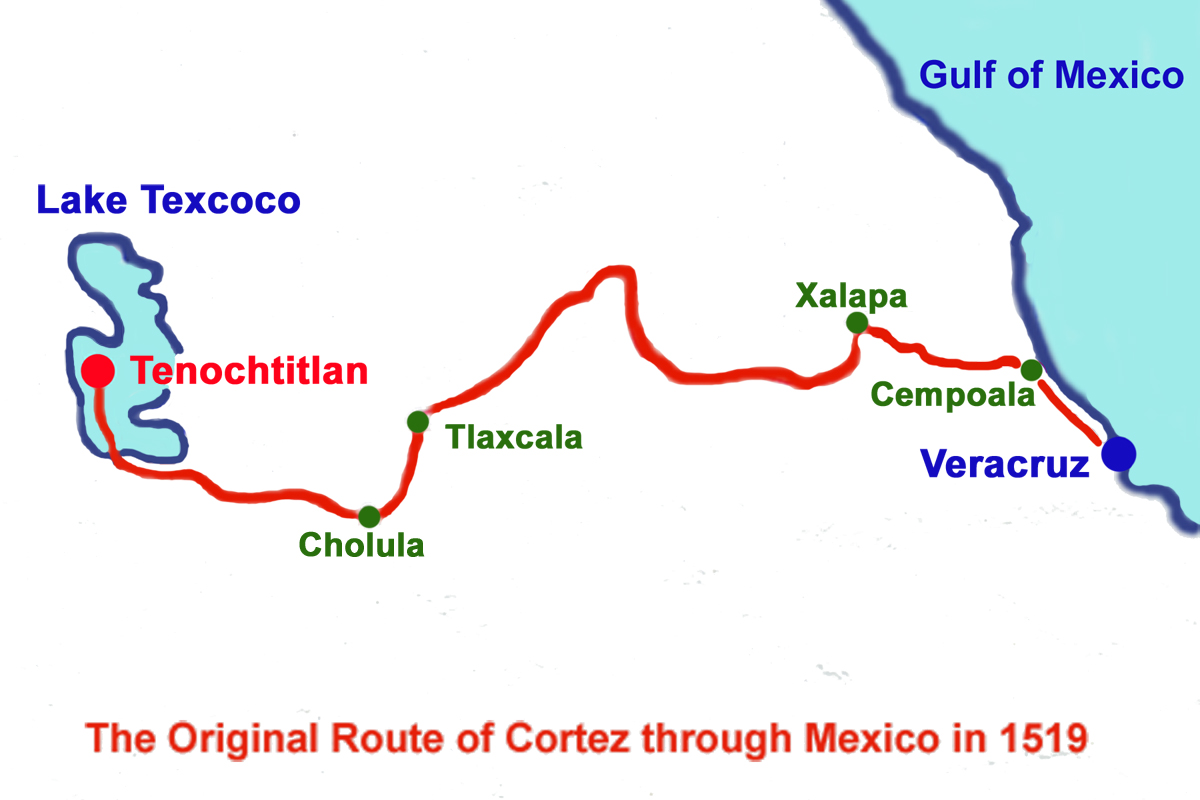 Route, Conquest of Mexico